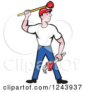 Clipart Of A Cartoon Male Plumber Standing With A Plunger And Monkey Wrench Royalty Free Vector Illustration