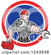 Cartoon Auto Mechanic Holding A Tool Box And Wrench In A Circle