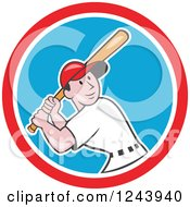 Clipart Of A Cartoon Male Baseball Player Athlete Batting In A Circle Royalty Free Vector Illustration