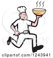 Clipart Of A Cartoon Male Chef Running With Hot Soup Royalty Free Vector Illustration