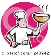 Clipart Of A Cartoon Male Chef Holding Hot Soup Over A Pink Circle Royalty Free Vector Illustration