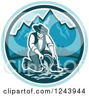Clipart Of A Retro Male Miner Panning For Gold In A Mountainous River Royalty Free Vector Illustration