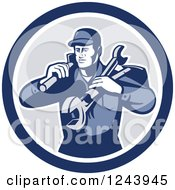 Clipart Of A Retro Male Handyman Or Mechanic With Tools In A Circle Royalty Free Vector Illustration by patrimonio