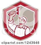 Clipart Of A Retro Male Union Worker Hammering In A Shield Royalty Free Vector Illustration
