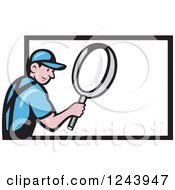 Clipart Of A Cartoon Worker Man Using A Giant Magnifying Glass Over A Billboard Royalty Free Vector Illustration