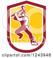 Clipart Of A Retro Male Union Worker Swinging A Sledgehammer In A Shield Royalty Free Vector Illustration