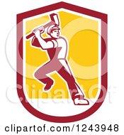 Retro Male Union Worker Swinging A Sledgehammer In A Shield