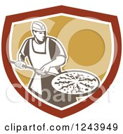 Retro Male Pizzeria Chef With A Pie On A Pan In A Shield