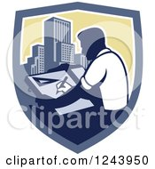 Clipart Of A Retro Male Architect Drawing Plans Over Skyscrapers In A Shield Royalty Free Vector Illustration
