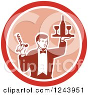 Retro Male Waiter Serving Wine In A Pink And Red Circle