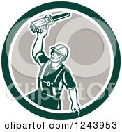 Clipart Of A Retor Male Arborist Wielding A Chainsaw In A Circle Royalty Free Vector Illustration
