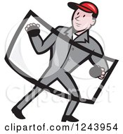 Clipart Of A Cartoon Male Automotive Glass Installer Carrying A Windshield Royalty Free Vector Illustration by patrimonio