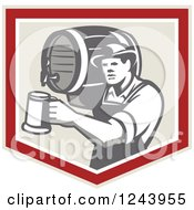 Clipart Of A Retro Bartender Man Pouring A Beer From A Keg In A Shield Royalty Free Vector Illustration