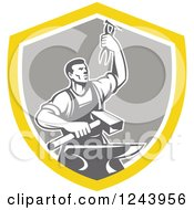 Clipart Of A Retro Male Blacksmith Holding Up Pliers Over A Sledgehammer And Anvil In A Shield Royalty Free Vector Illustration