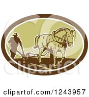 Clipart Of A Retro Farmer And Horse Plowing A Field In An Oval Royalty Free Vector Illustration