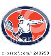 Clipart Of A Retro Male Tennis Player Athlete In An Oval Royalty Free Vector Illustration