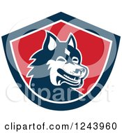 Clipart Of A Siberian Husky Dog In A Shield Royalty Free Vector Illustration by patrimonio
