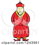 Clipart Of A Cartoon Chinese Man In A Traditional Robe Royalty Free Vector Illustration