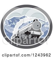 Clipart Of A Steam Engine Train In The Mountains Inside An Oval Royalty Free Vector Illustration by patrimonio