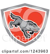 Clipart Of A Red Eyed Stalking Wolf Or Dog In A Shield Royalty Free Vector Illustration by patrimonio
