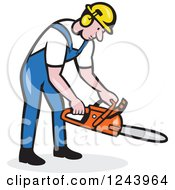 Clipart Of A Cartoon Lumberjack Holding A Chainsaw Royalty Free Vector Illustration by patrimonio