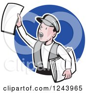 Clipart Of A Cartoon News Boy Shouting With Papers In Hand Over A Blue Circle Royalty Free Vector Illustration