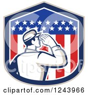Clipart Of A Retro Male Soldier Saluting In An American Flag Shield Royalty Free Vector Illustration
