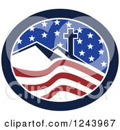 Clipart Of A Christian Cross On Hills In An American Oval Royalty Free Vector Illustration