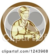 Clipart Of A Retro Baking Granny Holding A Mixing Bowl In A Circle Royalty Free Vector Illustration