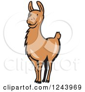 Clipart Of A Brown Alert Llama Royalty Free Vector Illustration by patrimonio