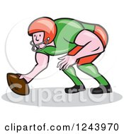 Clipart Of A Cartoon Male American Football Gridiron Player Squatting Royalty Free Vector Illustration