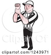 Cartoon Male American Football Referee Signalling Illegal Use Of Hands