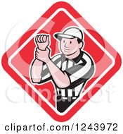 Cartoon Male American Football Referee Signalling Illegal Use Of Hands In A Diamond