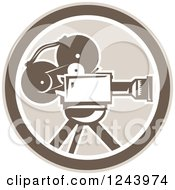 Clipart Of A Retro Film Movie Camera In A Circle Royalty Free Vector Illustration by patrimonio