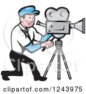 Clipart Of A Cartoon Camera Man At Work Royalty Free Vector Illustration