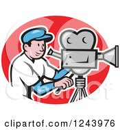 Clipart Of A Cartoon Camera Man In A Red Oval Royalty Free Vector Illustration