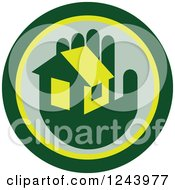 Clipart Of A Green Hand Holding A House In A Circle Royalty Free Vector Illustration
