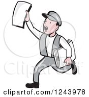 Cartoon News Boy Running And Shouting With Papers In Hand