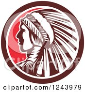 Clipart Of A Retro Native American Indian Chief In Profile In A Circle Royalty Free Vector Illustration