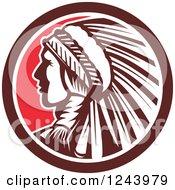 Retro Native American Indian Chief In Profile In A Circle