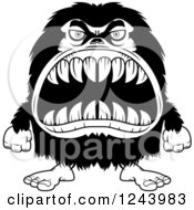 Clipart Of A Black And White Hairy Beast Monster With Sharp Teeth Royalty Free Vector Illustration