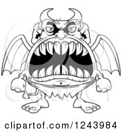 Clipart Of A Black And White Winged Devil Monster With Big Teeth Royalty Free Vector Illustration