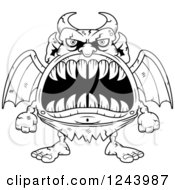 Clipart Of A Black And White Gargoyle Monster With Big Teeth Royalty Free Vector Illustration