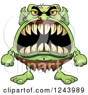 Clipart Of A Goblin Monster With Big Teeth Royalty Free Vector Illustration by Cory Thoman