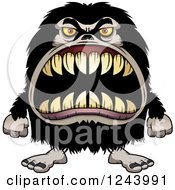 Clipart Of A Hairy Beast Monster With Sharp Teeth Royalty Free Vector Illustration by Cory Thoman