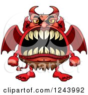 Clipart Of A Winged Devil Monster With Big Teeth Royalty Free Vector Illustration