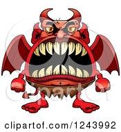 Winged Devil Monster With Big Teeth