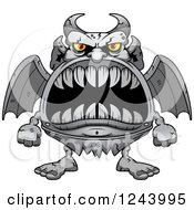 Clipart Of A Gargoyle Monster With Big Teeth Royalty Free Vector Illustration by Cory Thoman