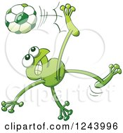 Clipart Of A Soccer Football Frog Kicking Royalty Free Vector Illustration