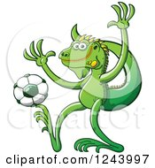 Clipart Of A Soccer Football Iguana Lizard Kicking Royalty Free Vector Illustration by Zooco